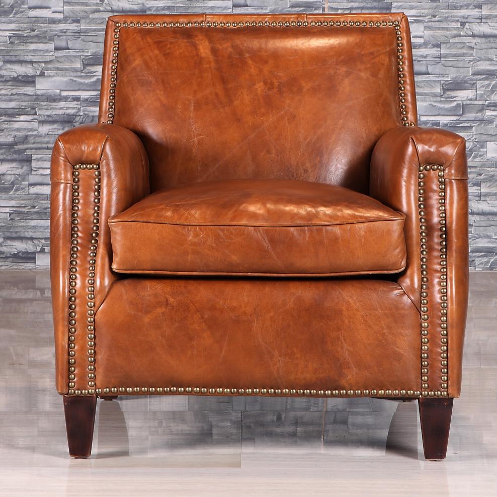 retro stijl antieke lederen fauteuil met klinknagel buy. Black Bedroom Furniture Sets. Home Design Ideas