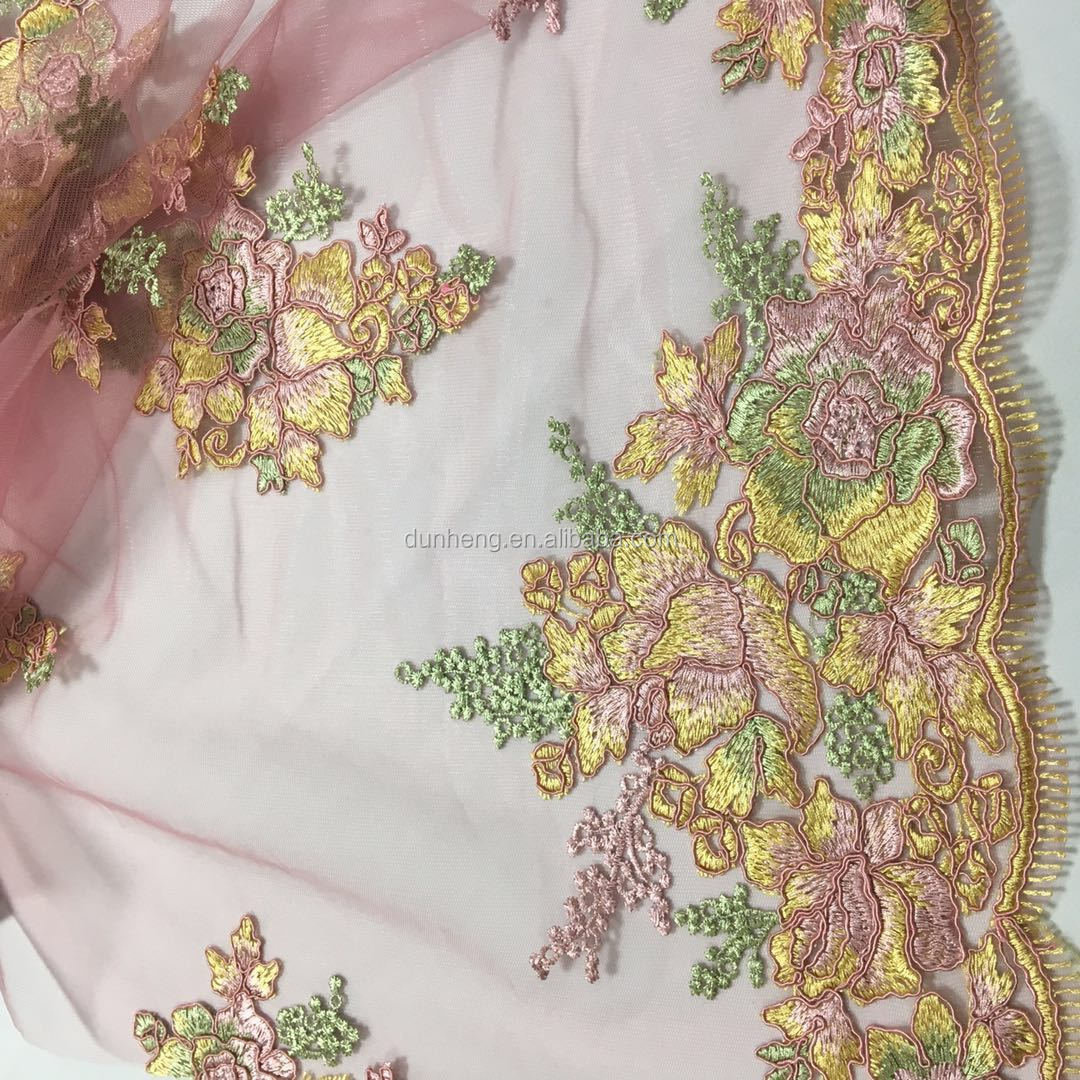 Beautiful flowers cord embroidery fabric for woman dress