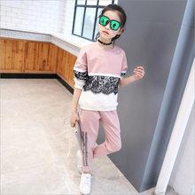 Одежда для девочек-подростков комплект одежды для детей, хлопковый свитер + штаны комплект повседневной одежды из 2 предметов с блестками дл...(Китай)