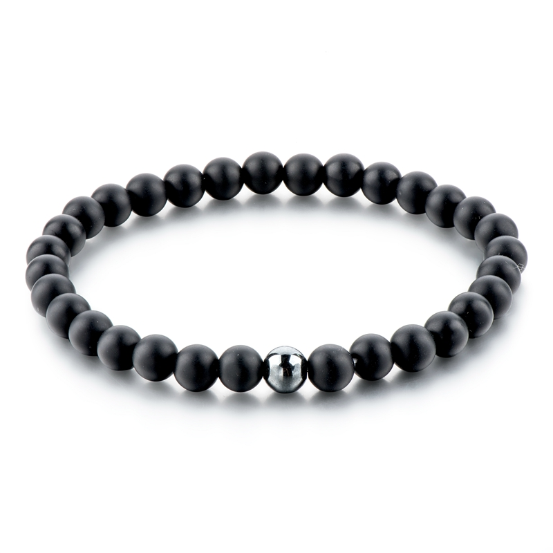Fashion jewelry for men custom design matt black agate with hematite beads bracelet, men's gemstone fitting bracelet