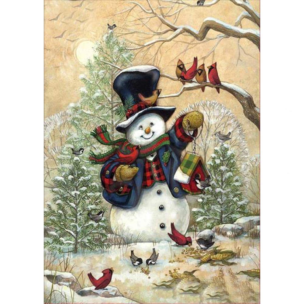 Rumas Santa Claus Snowman 5D Canvas Embroidery Paintings - DIY Rhinestone Pasted Diamond Painting Kit for Beginners - Art Handcraft Cross Stitch Wall Decor for Home Office Shop (C)