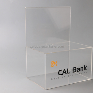 Charity Donation Box Supplier Locking Hinged Door Sign Holder 2 Coin Slots Clear Acrylic Donation Box