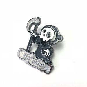 OME manufacturers china custom glitter badge metal plated soft enamel pin