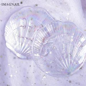 IMAGNAIL Colorful Glass Nail Palette With Shell Shape UV Gel Painting Board Tips For Manicure Nail Art Display