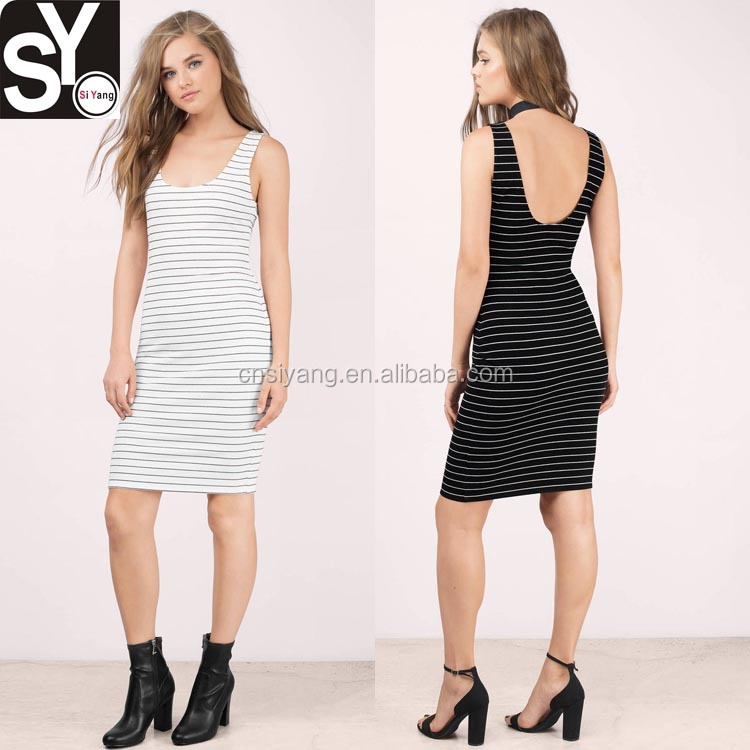 2017 Apparel supplier lower back sexy striped women casual dress for summer