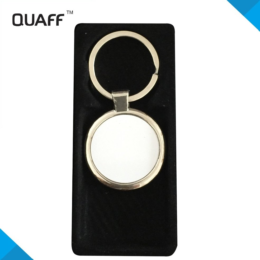 QUAFF cheap sublimation round metal keychain for custom gift ,logo by heat transfer