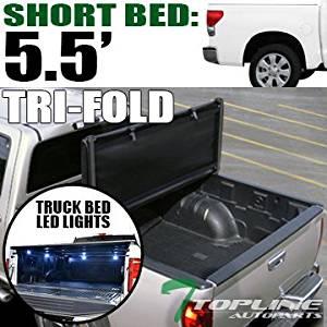 topline autopart tri-fold soft truck topper cap tonneau cover & 8 pods 16x  white