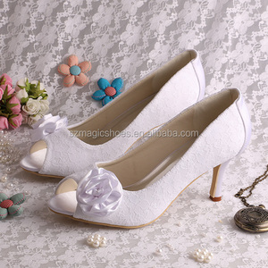 Sweet Lace Heels Floral Open Toe Shoes Bridal Marry
