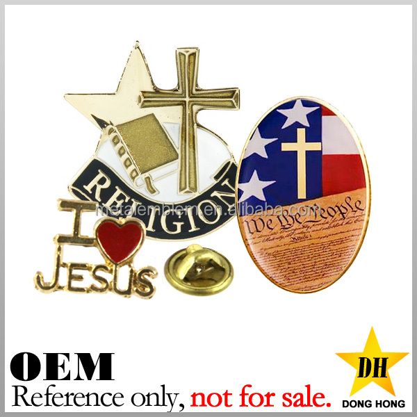 cheap custom logo soft enamel jesus metal religion christian lapel pins
