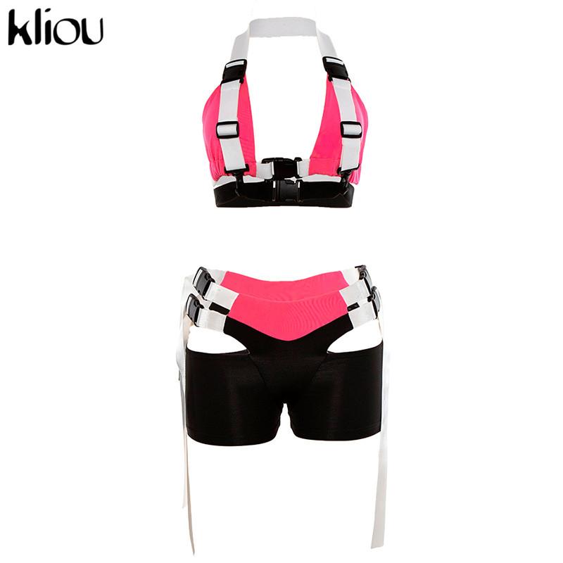 Kliou Новый женский летний модный открытый комплект из 2 предметов укороченный топ бюстье с открытой спиной и шорты трусы с ремешками и разрез...(Китай)