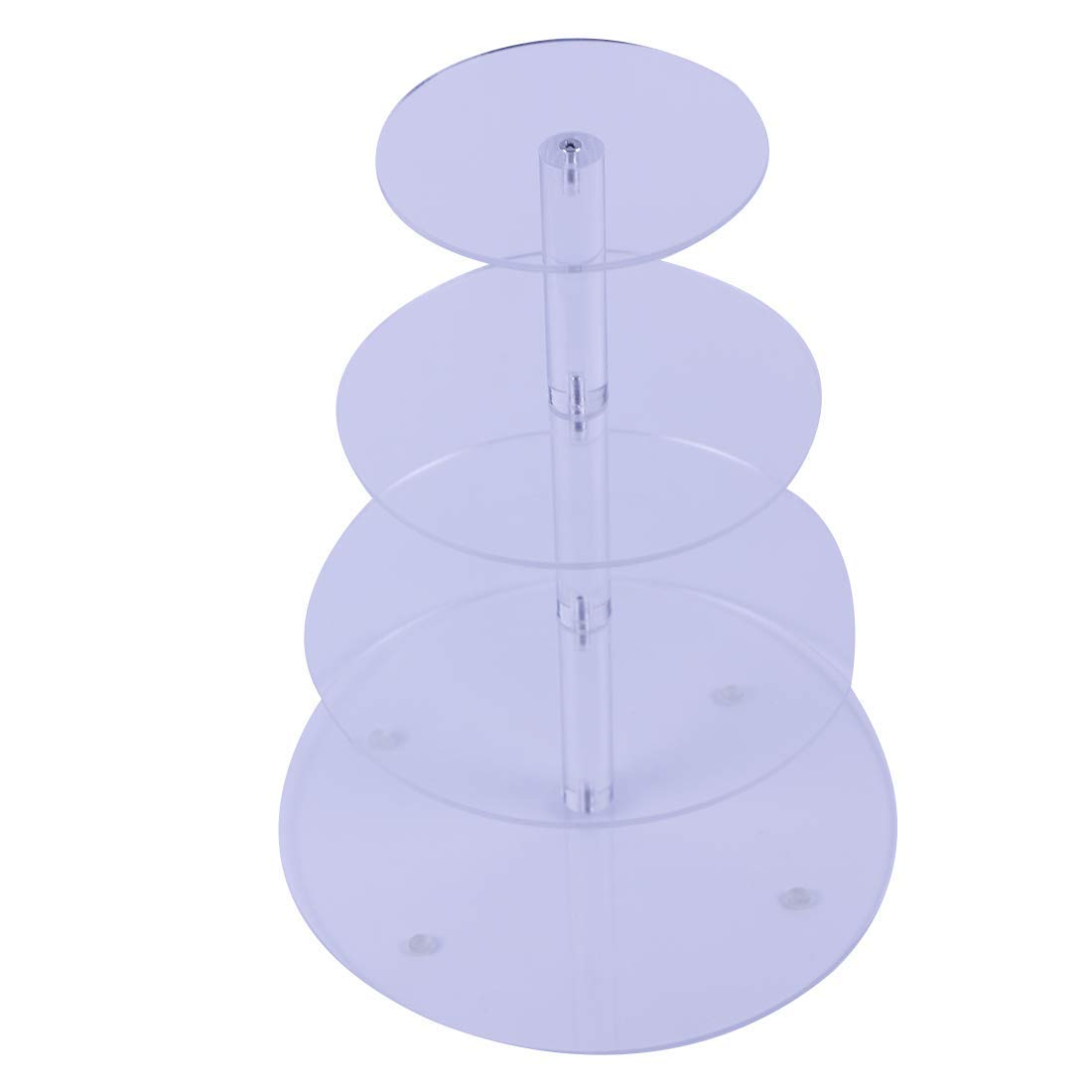 """VONTERP 4 Tier Acrylic Cupcake Stand Clear Acrylic Cupcake Stand Wedding Birthday Display Stand ((4 Tier Round (4.7"""" Layer spacing)"""
