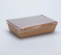 New high quality biodegradable Kraft&White paper tray with PP lid salad,pizza,food container