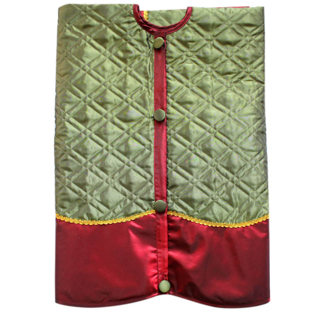 Linen Christmas Tree Skirt: Linen Slub Look Diamond Check Quilted Christmas Tree Skirt