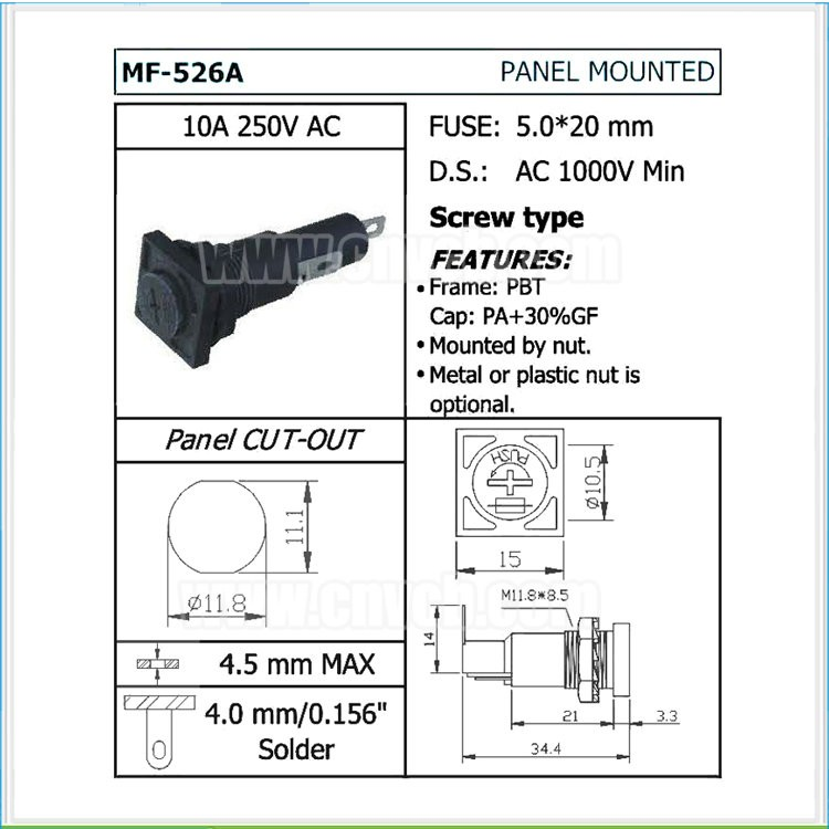 FH03 MF-526A 2pin 11.8mm panel mounted glass fuse holder