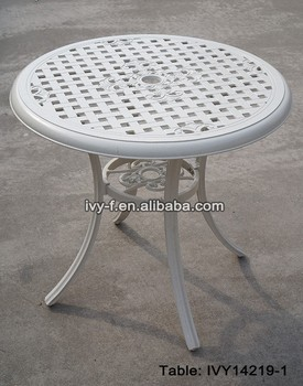 Delicieux Outdoor Furniture Metal Cast Aluminum Round Table White Color Mesh Design  Tabletop With Umbrella Hole Assembly