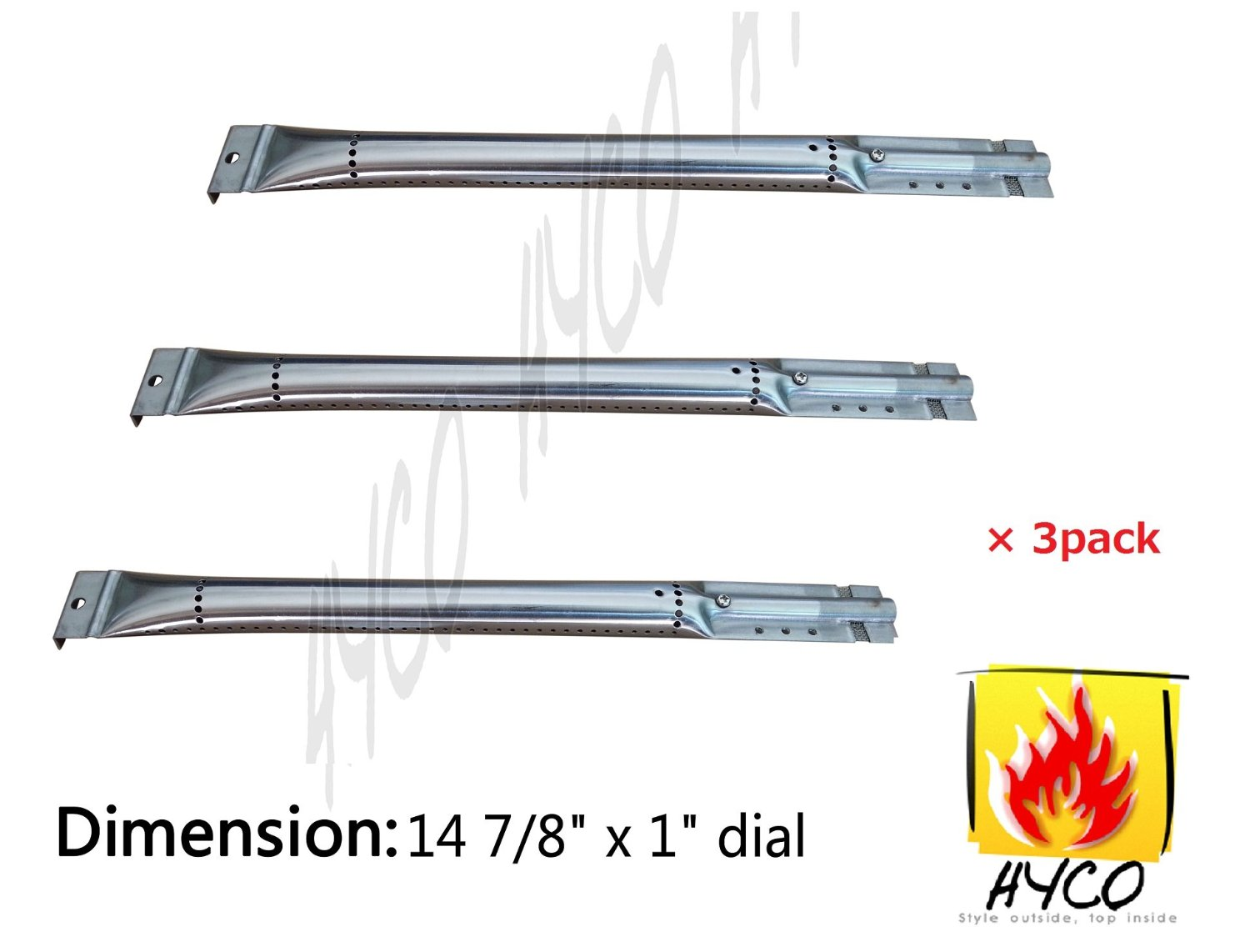 Hyco Replacement Straight Stainless Steel Pipe Burner for Kenmore Sears, K Mart, Nexgrill, Lowes Model Grills, hy16791 (3-pack)