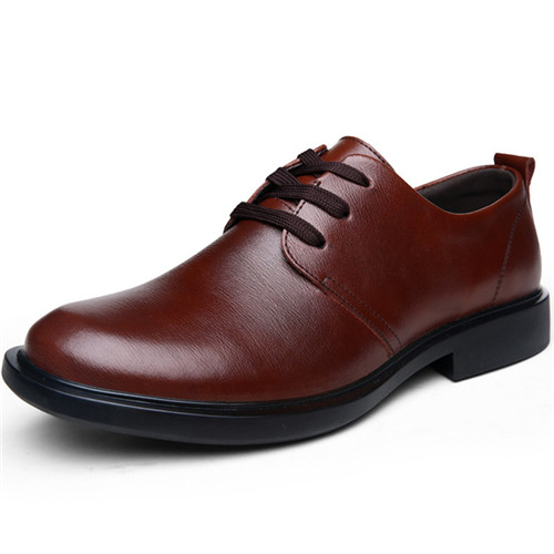 2015 Newest Man Shoes Leather Fashion Derby Shoe For Mens Designer Casual Breathable Round Toe Flats Autumn Brown Size 38-44