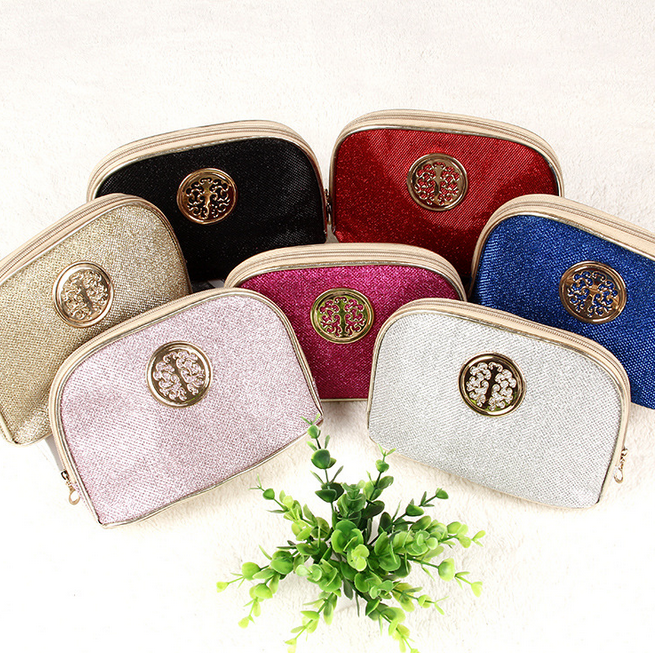 2016 Hot Selling Brand Clutches Delicate Round Hardware Decoration Sequins Make Up Bags High Quality Fashion Cosmetic Bag
