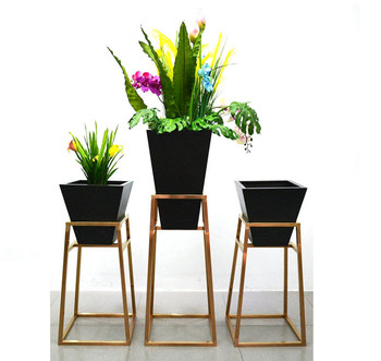Dongguan China Factory Competitive Price Stainless Steel Gold Square Plant Stands
