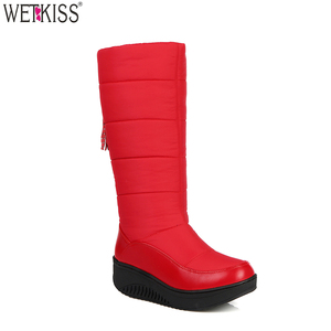Drop Shipping Factory Supply Ladies Half Down Boots Red Winter Thermal Snow Women Boots Cheap