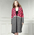 European Women Mohair Knitted Cardigans Coat 2015 Autumn Winter Patchwork Sweaters 3 4 Sleeve Plus Size