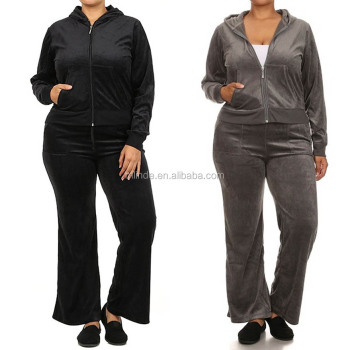 ec74c2cf 2 Piece Womens PLUS SIZE Velour SET JOGGING Set Hoodie PANTS Sports Track  Suits XL XXL