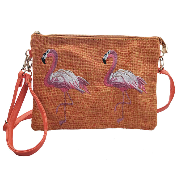2018 Tasche Stickerei Flamingo Straw Bag Stickerei Mode Handtasche