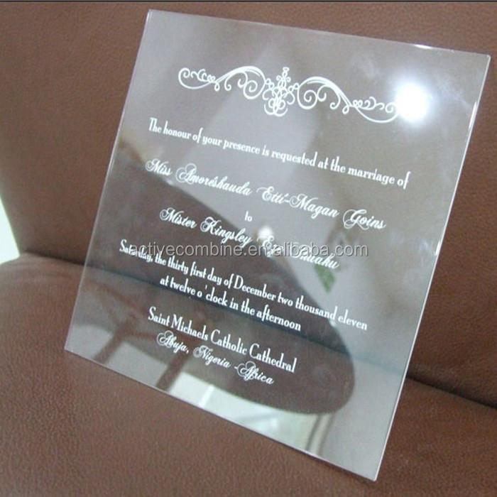 Fancy Oval Shape Acrylic Wedding Invitation Card Customized Clear Acrylic  Invitations