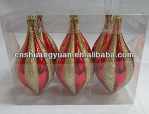 shiny red plastic with gold glitter christmas ornaments