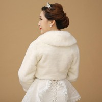 ur Shawl Wedding Wrap Formal Dress Cheongsam Pregnantwith Married Outerwear Bride Cape Ivory Autumn Winter Jacket