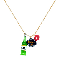 Wholesale Korean Creative jewelry Green Plastic Beer wine Bottle cheer up red lip charm necklace for kid
