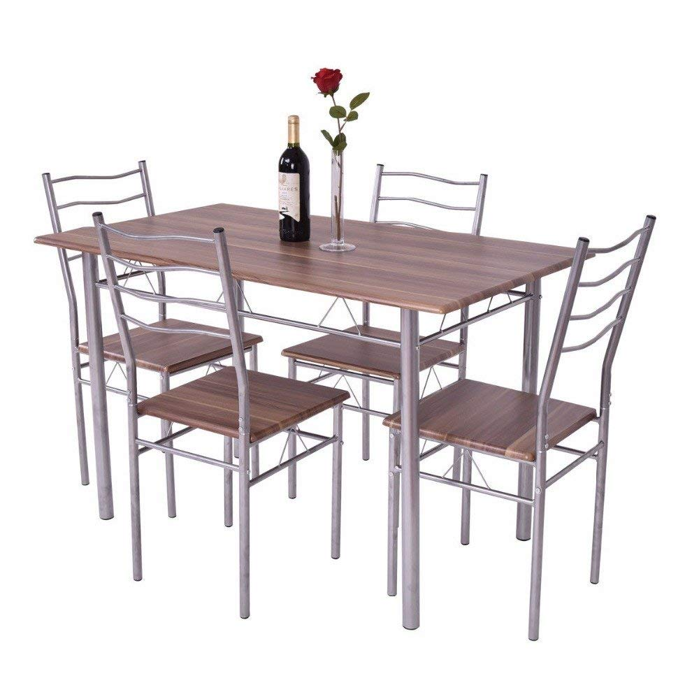 5 Pieces Dining Table Set 1 Wooden Dining Table with 4 Dining Chairs Metal Modern Kitchen Breakfast Furniture.