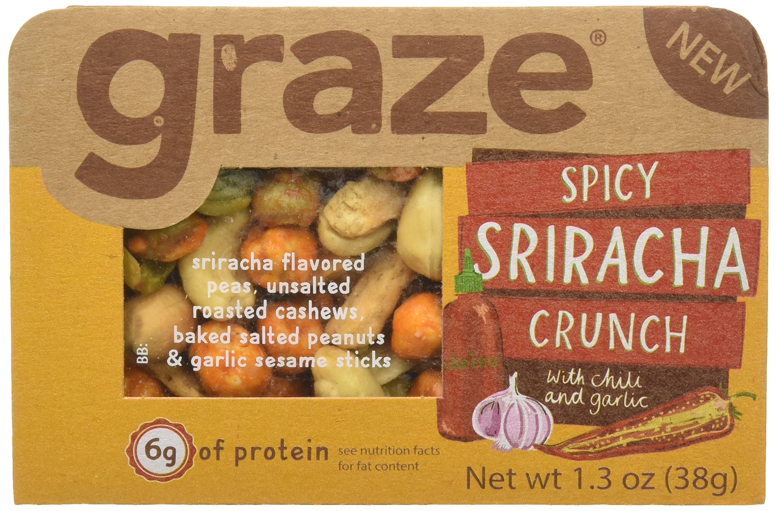 Graze Natural Spicy Sriracha Crunch Snack with Sriracha Peas, Roasted Cashews, Baked Salted Peanuts and Garlic Sesame Sticks, Healthy, Tasty, Natural Nut Trail Mix, 1.3 Ounce Box, 9 Pack