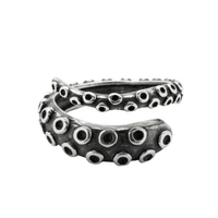 Adjustable Oxidized Black 925 Sterling Silver Octopus Tentacle Ring