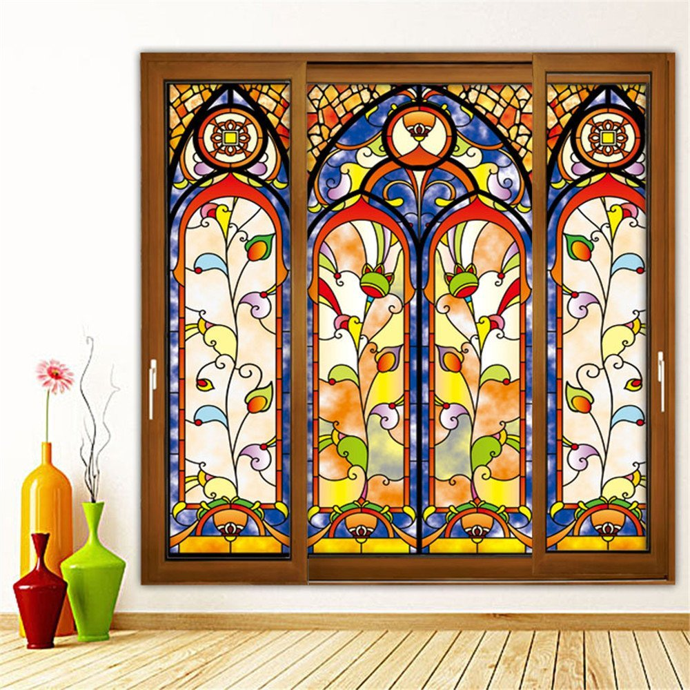 """OstepDecor Custom Translucent Non-Adhesive Frosted Stained Glass Window Films 30"""" W x 72"""" H (One Panel)"""