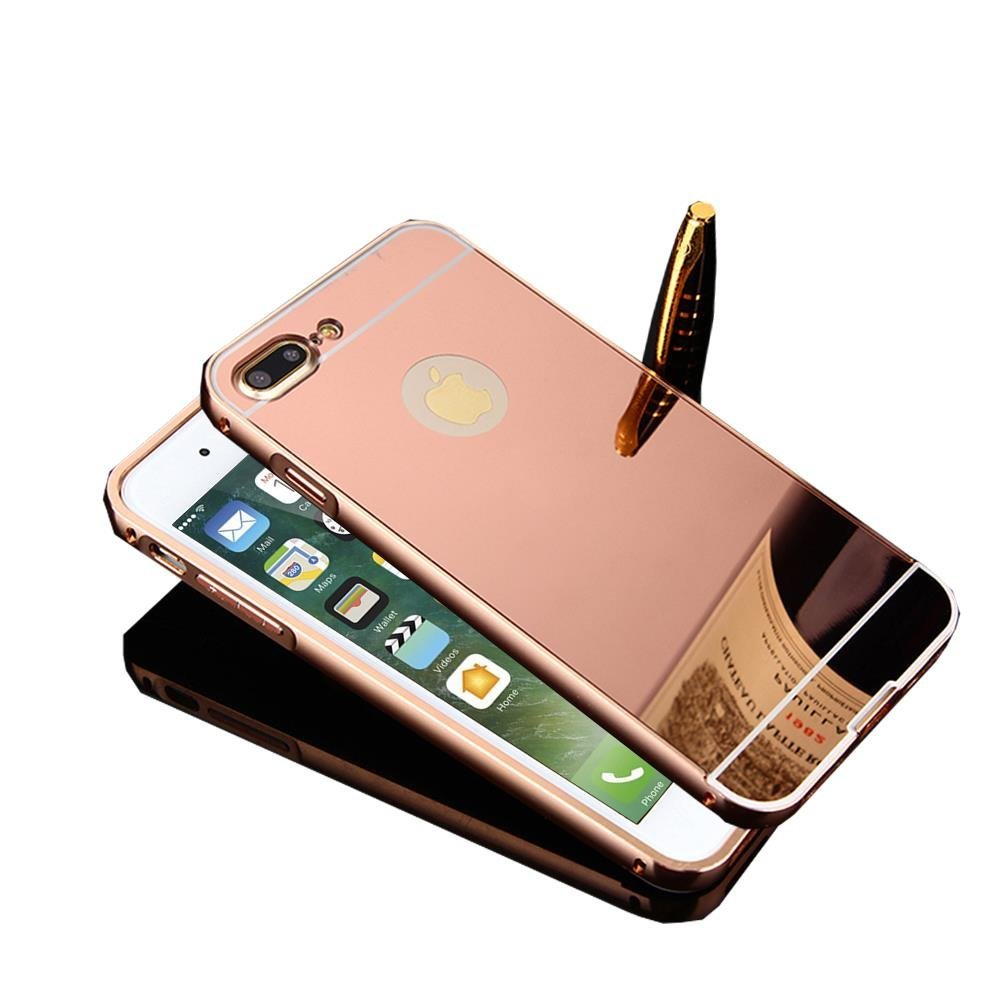 iPhone 7 Plus Case, TabPow Mirror Case Series - Electroplate Bumper Bling Luxury Slim Hard Back Case Cover For Apple iPhone 7 Plus(5.5 Inch), Rose Gold