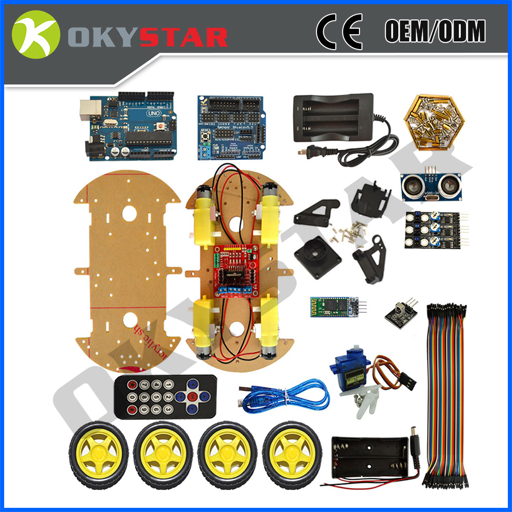4WD DIY Bluetooth Multi-Function Smart Intelligent Robot Bluetooth Tracking Devices Educational Robot kit