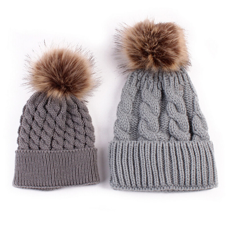 d4c096c8c Mom And Baby Matching Knitted Hats Warm Fleece Crochet Beanie Hats Winter  Mink Pompom Kids Children Mommy Headwear Hat Caps - Buy Beanie Hat,Hat ...