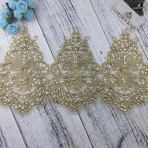 18cm Width Gold Color Bridal Embroidery Lace Trim Sequin lace