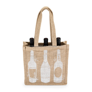 Fashion nature color cheap price printed jute wine beer bottle bag