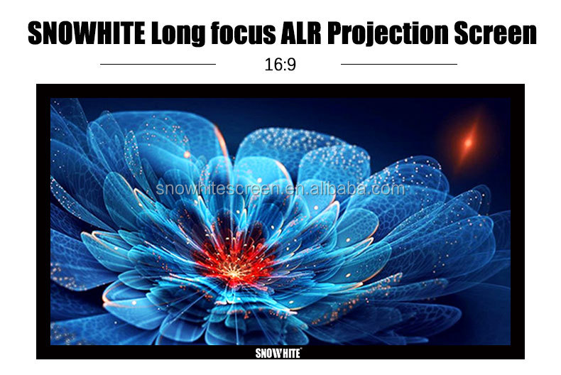 "SNOWHITE 90"" 16:9 Format SM090CFH-C(V) long Focus Fixed Frame Ambient Light Rejection Projection Screen"