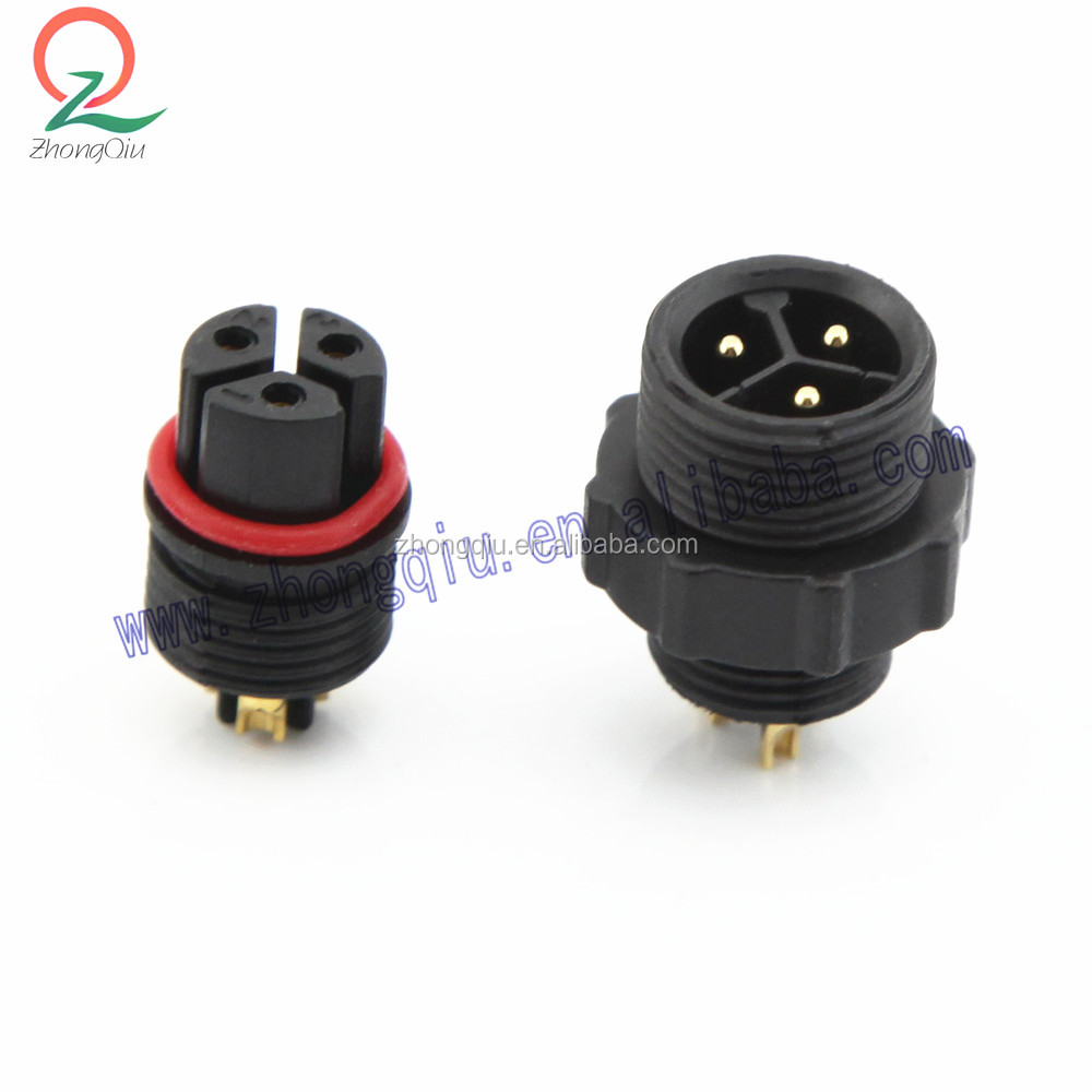 3 Pin water proof connector cable plug socket conector