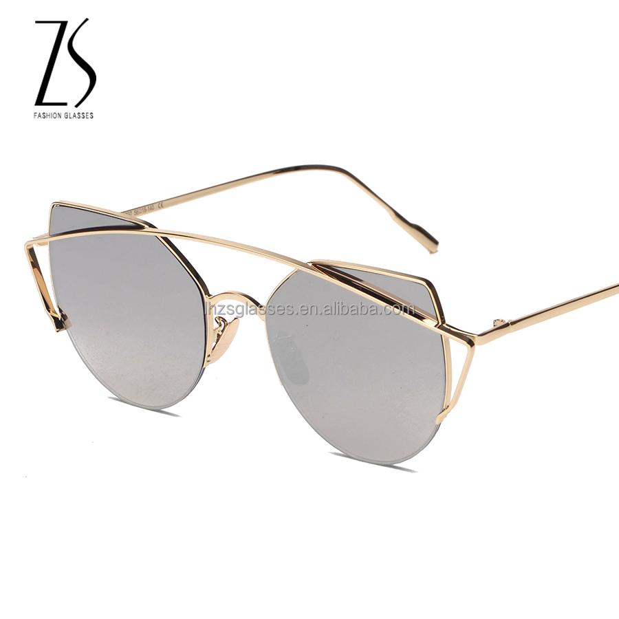 Doppia linea telaio occhiali da sole di alta qualit 2017 moda occhiali da sole donne uomini oro - Occhiali a specchio rosa ...