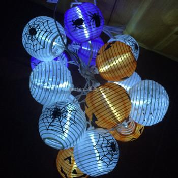Solar String Lights Outdoor 20 Led Warm White Fabric Lantern Ball