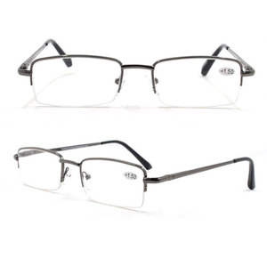 Custom half frame reading glasses metal readers men semi rimless reading glasses with pouch