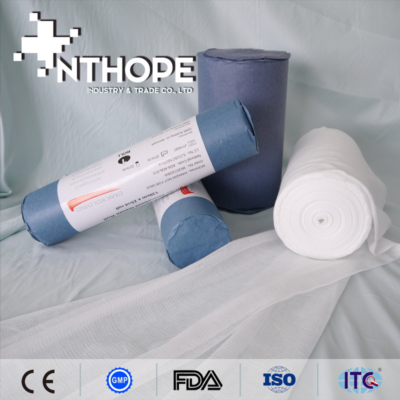 Degreased surgical absorbent gauze roll for clinic