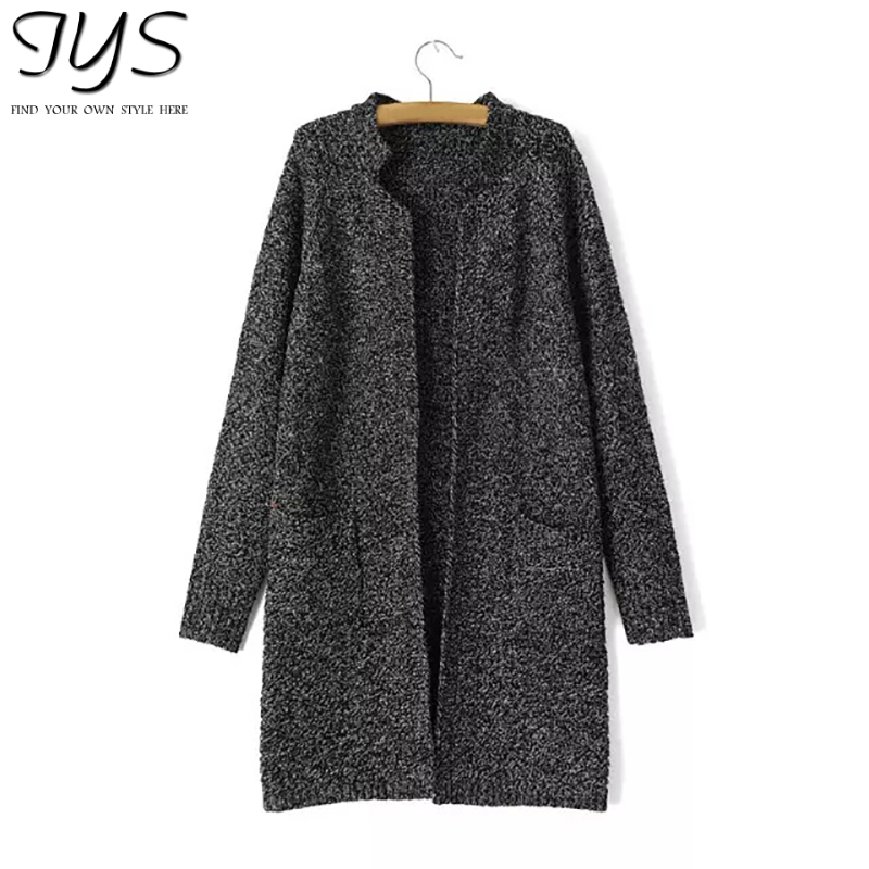 2015 autumn fashion casual long section brief elegant knitted cardigan two pockets dark gray women's cardigan korean style