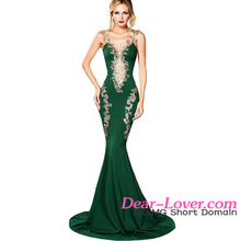 Chic Ladies Deluxe Applique Green Mermaid Party Lace Evening Dress