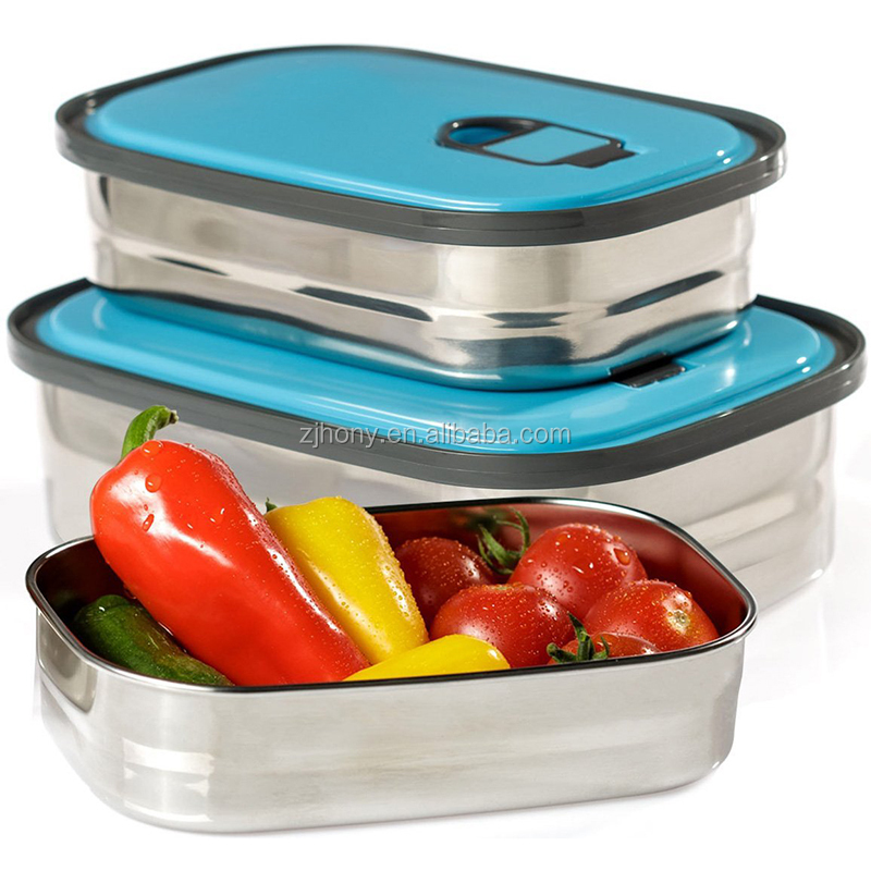 Healthy Takeaway Outdoor Meals Bento Lunch Box with Blue Lids Set 3 Leak Proof Stainless Steel Can Food Container Storage