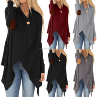 2018 New Styles Winter women's threaded long sleeve fight irregular button coat for female